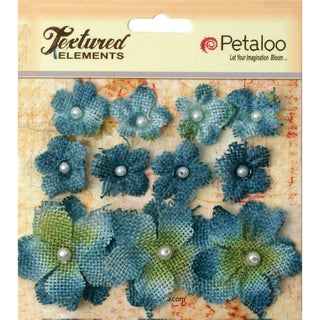 Textured Elements Burlap Mini Flowers .75in To 1.5in 11/PkgDenim Blue