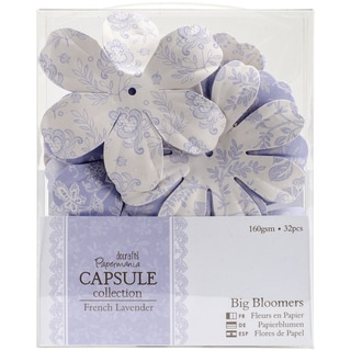 Papermania French Lavender Big Bloomers Paper Flowers 3in32pk