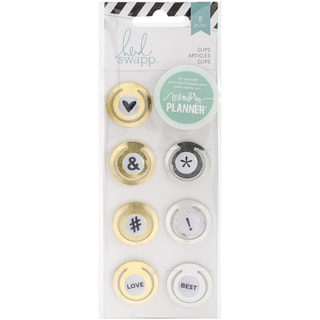 Heidi Swapp Hello Beautiful Embellishments 8/PkgMetal Circle Clips 1in, Gold & Silver