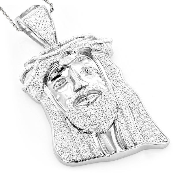 Luxurman Hip Hop Jewelry 10k Gold 1 12ct TDW Diamond Jesus Face