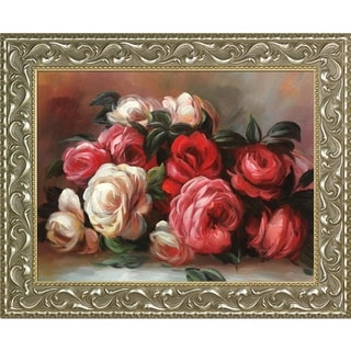 Pierre-Auguste 'Renoir Discarded Roses' Hand Painted Framed Canvas Art