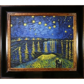 Vincent Van Gogh 'Starry Night Over The Rhone' (Luxury Line) Hand Painted Framed Canvas Art