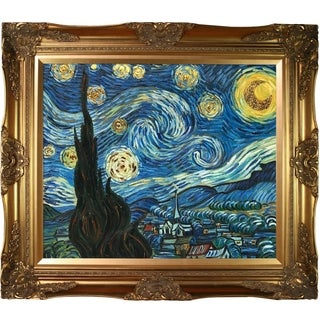 Vincent Van Gogh 'Starry Night' (Luxury Line) Hand Painted Framed Canvas Art