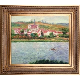 Claude Monet 'Vetheuil, Morning Effect' Hand Painted Framed Canvas Art