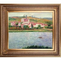 Claude Monet 'Vetheuil, Morning Effect' Hand Painted Framed Canvas Art