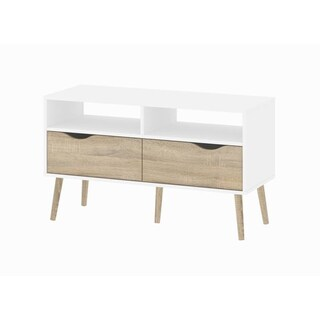 Diana White 2-shelf 2-drawer Oak TV stand