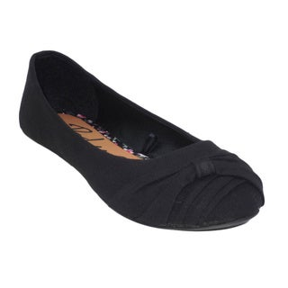 Blue Women's Black Canvas 'Dope' Ballerina Flat Shoes