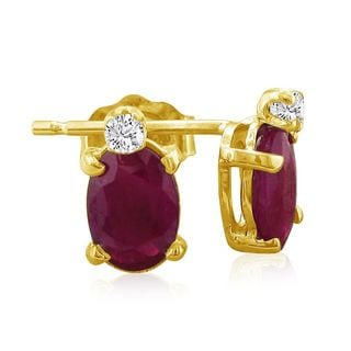 14k Yellow Gold Oval Ruby Diamond Accent Earrings