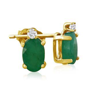 14k Yellow Gold Oval Emerald Diamond Accent Earrings