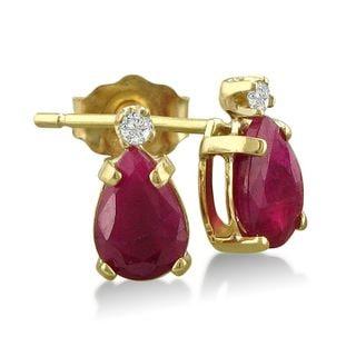 14k Yellow Gold Pear-cut Ruby Diamond Accent Earrings
