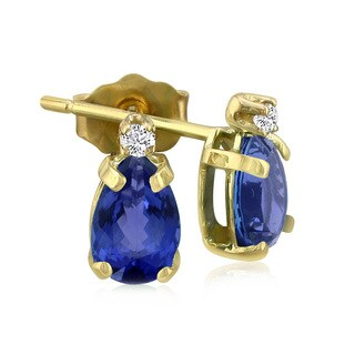14k Yellow Gold Pear-cut Tanzanite Diamond Accent Earrings