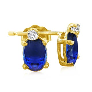 14k Yellow Gold Oval Tanzanite Diamond Accent Earrings