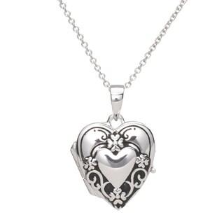 Blue Box Jewels Sterling Silver Oxidized Open Heart-shaped Pendant