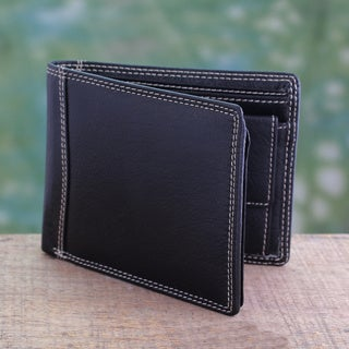 Handmade Men's Leather 'Suave Black' Wallet (India)