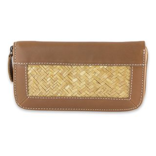 Handmade Palm Leather Accent 'Mixteco Honey' Wallet (Mexico)