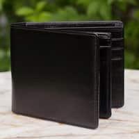 Leather Men's 'Black Minimalist' Wallet (Thailand)