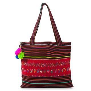 Handcrafted Cotton 'Ducks of Toliman' Shoulder Bag (Guatemala)