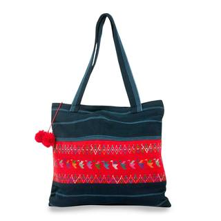 Handcrafted Cotton 'Blue Birds of Toliman' Shoulder Bag (Guatemala)