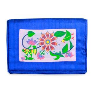 Handmade Silk 'Sapphire Muse of Nature' Notebook Sleeve (India)