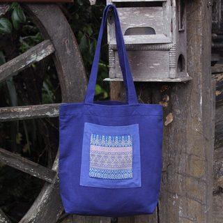 Handcrafted Cotton 'Chiang Mai Hyacinth' Tote Handbag (Thailand)