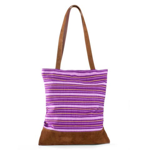 Handmade Leather Accent Cotton Tradition in Lilac Shoulder Bag (Guatemala)