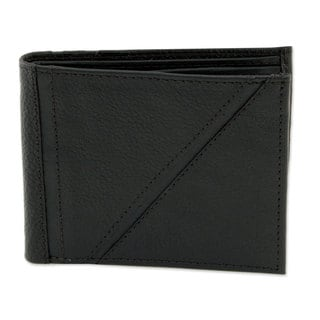 Men's Handmade Leather 'Minimalist in Black' Wallet (Mexico)