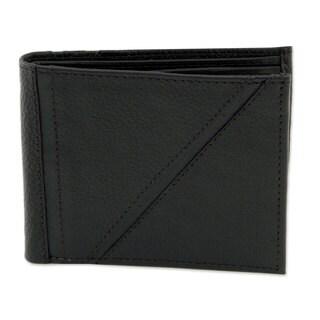 Men's Handmade Leather 'Minimalist in Black' Wallet (Mexico)