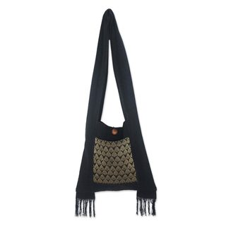 Handcrafted Cotton 'Golden Lotus' Sling Bag (Thailand)