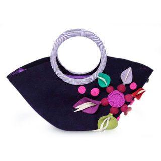 Handmade Wool 'Andean Purple' Handle Handbag (Peru)