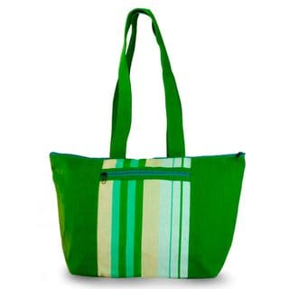 Handmade Cotton 'Green Apple' Tote Handbag (Guatemala)