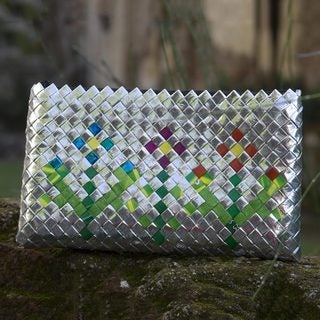 Handmade Recycled Metalized Wrapper 'Garden Flower' Clutch Handbag (Guatemala)