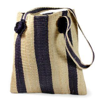 Handmade Maguey Fiber 'Indigo Path' Shoulder Bag (Guatemala)