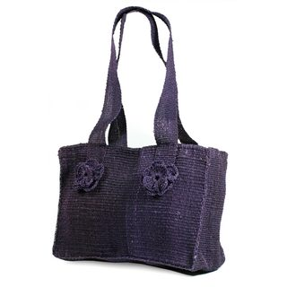 Handcrafted Maguey Fiber 'Purple Maya Rose' Shoulder Bag (Guatemala)