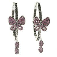 Sterling Silver Black Spinel and Rhodolite Butterfly Hoop Earrings