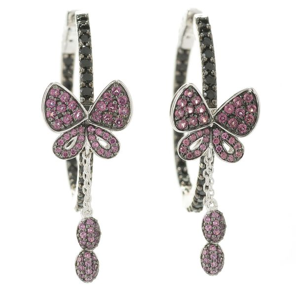 Sterling Silver Black Spinel and Rhodolite Butterfly Hoop Earrings