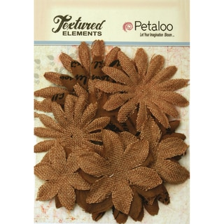 Textured Elements Burlap/Canvas Daisy Layers 2in To 3.5in 15pkNatural