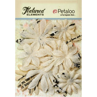 Textured Elements Burlap/Canvas Daisy Layers 2in To 3.5in 15pkIvory