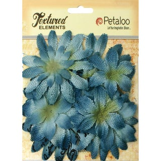 Textured Elements Burlap/Canvas Daisy Layers 2in To 3.5in 15pkDenim Blue