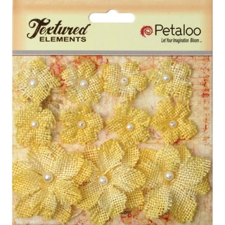 Textured Elements Burlap Mini Flowers .75in To 1.5in 11/PkgYellow