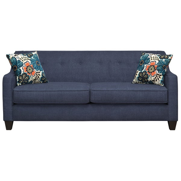 Art van axis navy sofa with 2 clementine turquoise accent for Red sectional sofa art van