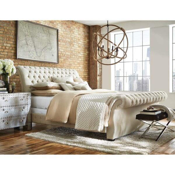 Shop Art Van Bombay Linen Queen Bed Free Shipping Today