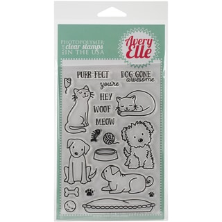 Avery Elle Clear Stamp Set 4inX6inFurry Friends
