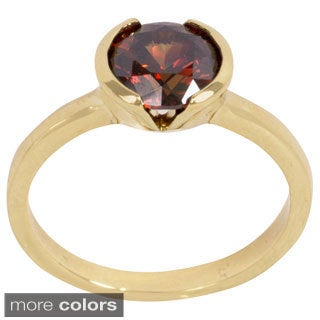 NEXTE Jewelry Goldtone or Silvertone Bezel-set Chocolate Cubic Zirconia Solitiare Ring
