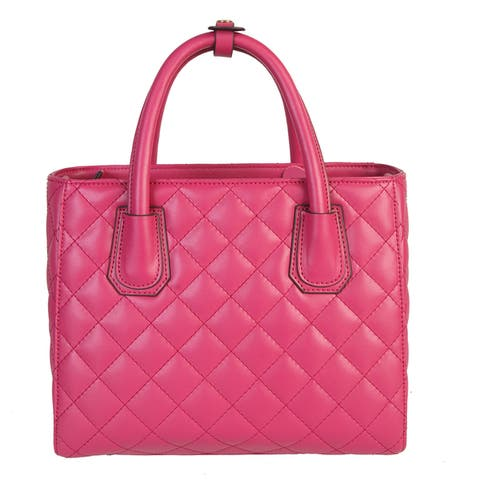 Mllecoco Leather Solid Color Quilted Texture Button Snap Handle Chic Handbag - L
