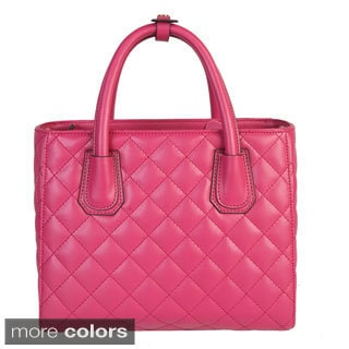 Mllecoco Leather Solid Color Quilted Texture Button Snap Handle Chic Handbag