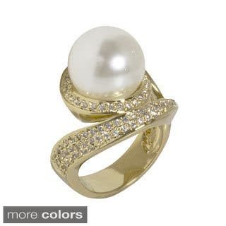 NEXTE Jewelry Goldtone or Silvertone Faux Pearl Cubic Zirconia Swirl Style Ring|https://ak1.ostkcdn.com/images/products/10154976/P17284530.jpg?impolicy=medium