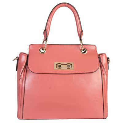 Mllecoco Genuine Leather Solid Color Turn Lock Structure Gold Hardware Chic Design Handbag - L