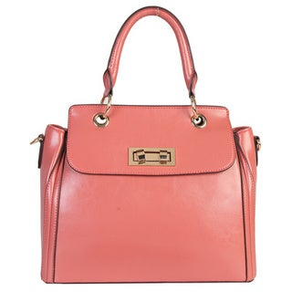 Mllecoco Genuine Leather Solid Color Turn Lock Structure Gold Hardware Chic Design Handbag