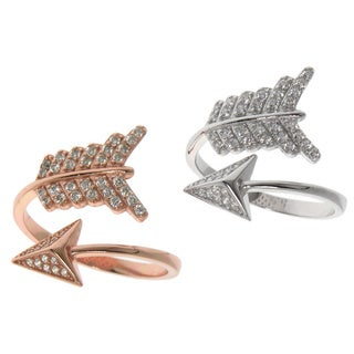 Eternally Haute Sterling Silver Pave Cubic Zirconia Adjustable Wrap-around Archer's Arrow Ring