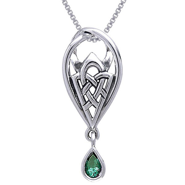 Sterling Silver Gemstone Celtic Knot of Protection Necklace